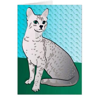 Ägypter Mau Katze - Aquahintergrund Mitteilungskarte