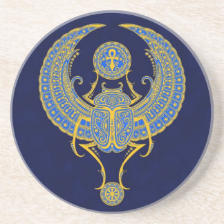 Ägypter Winged Scarabäus, blau Sandstein Untersetzer