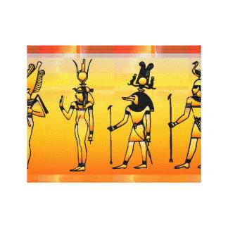 Ägyptische Hieroglyphen wickelten Leinwand ein Gespannte Galeriedrucke