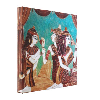 Ägyptische Kaffee-Malerei - 3 Damen Leinwand Druck