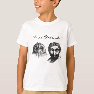 Ähnlichkeits-Eule und Mann-Vintage lustige Freunde T-Shirt