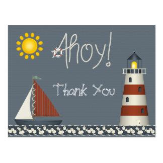 Ahoi danken Segel-Boot u. Leuchtturm Ihnen Postkarte