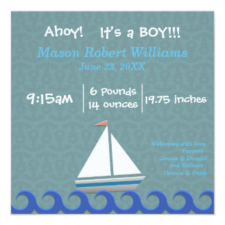 Ahoi, ist es ein Junge - Geburts-Mitteilung Quadratische 13,3 Cm Einladungskarte