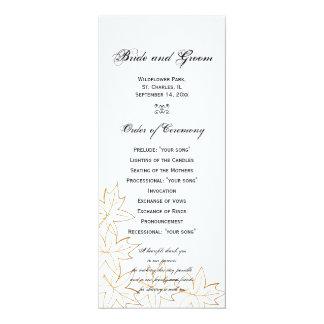 Ahornblatt-Rand-Hochzeits-Programm 10,2 X 23,5 Cm Einladungskarte