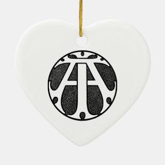 Ai-Münzen-Monogramm in den gotischen Buchstaben Keramik Herz-Ornament