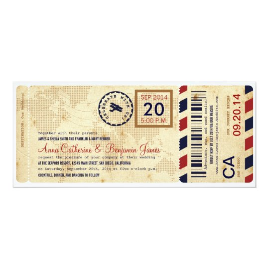 Airline Boarding Pass Ticket Wedding Invitation Karte