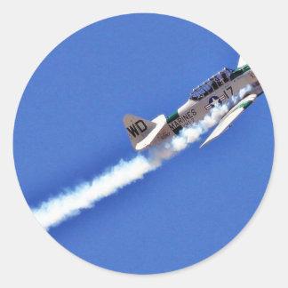 Airshows Flugzeug-Bomber-Marineflügel-Rauch Runder Aufkleber