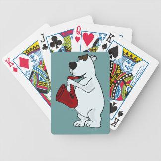 AK-, Eisbär, der Saxophon-Spielkarten spielt Pokerkarten
