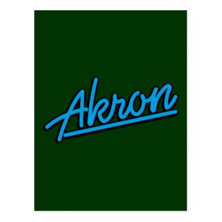 Akron in Cyan-blauem Postkarte