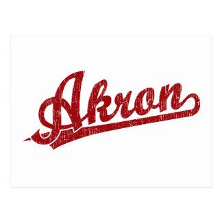 Akron-Skriptlogo im Rot Postkarte