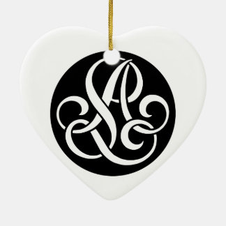 Al-LA-Monogramm Keramik Herz-Ornament