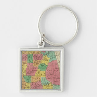 Alabama 3 silberfarbener quadratischer schlüsselanhänger