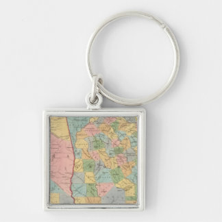 Alabama, Georgia Silberfarbener Quadratischer Schlüsselanhänger