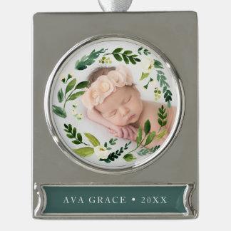 Alabasterblumenwreath-Foto Banner-Ornament Silber