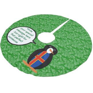 Aland Insel-Feiertags-Herr Penguin Polyester Weihnachtsbaumdecke