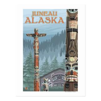 Alaska-Totempfähle - Juneau, Alaska Postkarte