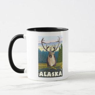 AlaskaCaribou in der wilden Vintagen Reise Tasse