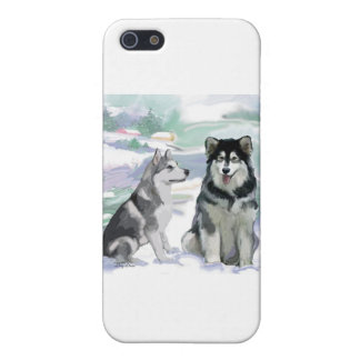 Alaskischer Malamute-Winter-Szene iPhone 5 Cover