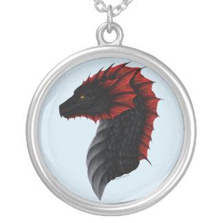 Alavon Drache-Profil-Halskette Versilberte Kette