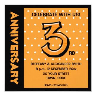 Alberne Jahrestags-Einladung Punkte der Nr. 3 Quadratische 13,3 Cm Einladungskarte