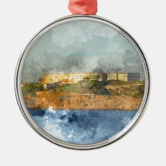Alcatraz Insel in San Francisco Kalifornien Silbernes Ornament