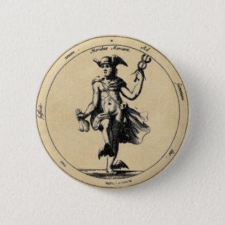 Alchemical Mercury und CaduceusSepia Runder Button 5,1 Cm
