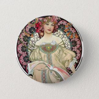Alfons Mucha-Träumerei 1897 Runder Button 5,1 Cm