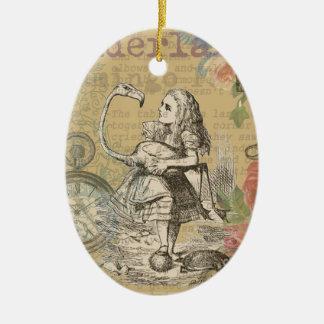 Alice im Wunderland-Flamingo-wütendes Tee-Party Ovales Keramik Ornament