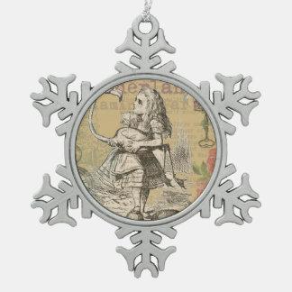 Alice im Wunderland-Flamingo-wütendes Tee-Party Schneeflocken Zinn-Ornament