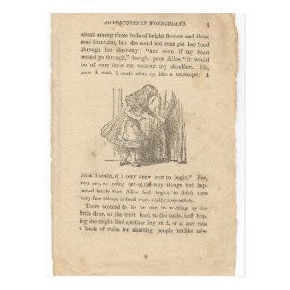 Alice im Wunderland, Kapitel eins, hinunter das Postkarte