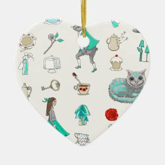 Alice im Wunderland Keramik Herz-Ornament