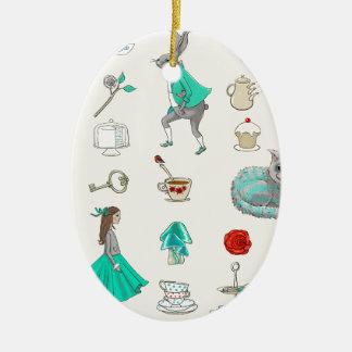 Alice im Wunderland Ovales Keramik Ornament