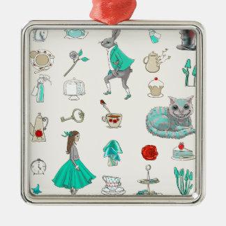 Alice im Wunderland Silbernes Ornament