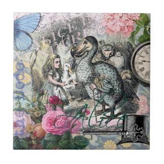 Alice im Wunderlanddodo-Vintage hübsche Collage Kleine Quadratische Fliese