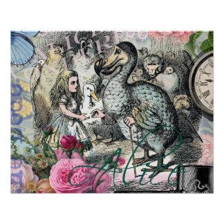 Alice im Wunderlanddodo-Vogel-Collage Poster