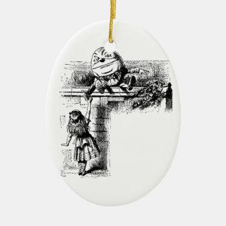 Alice in Wondlerand, Humpty Dumpty mit Alice Keramik Ornament