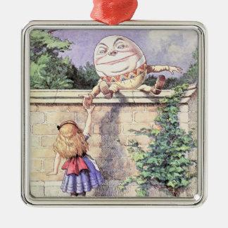Alice trifft Humpty Dumpty Silbernes Ornament