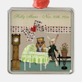 Alice u. Hasen im Märchenland über Babyparty Silbernes Ornament