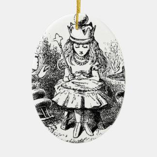 Alice und das Queens Ovales Keramik Ornament