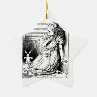 Alice und das weiße Kaninchen Keramik Stern-Ornament