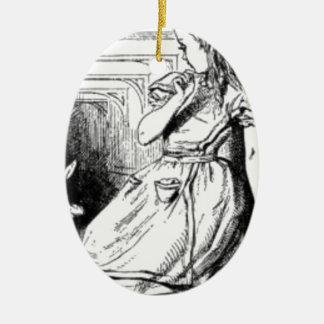 Alice und das weiße Kaninchen Ovales Keramik Ornament
