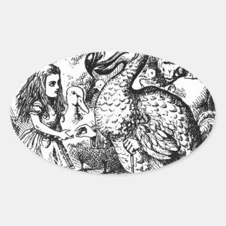 Alice und der Dodo Ovaler Aufkleber