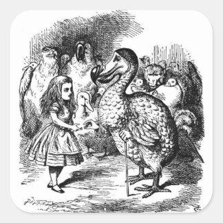 Alice und der Dodo Quadratischer Aufkleber