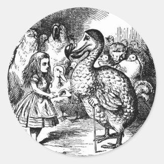 Alice und der Dodo Runder Aufkleber