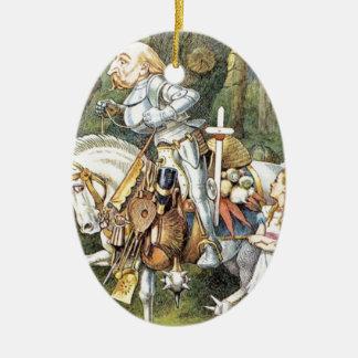 Alice und der weiße Ritter Ovales Keramik Ornament