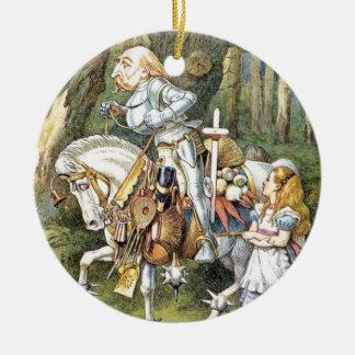 Alice und der weiße Ritter Rundes Keramik Ornament