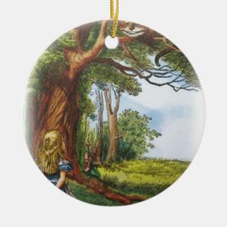 Alice und die Cheshire-Katze Rundes Keramik Ornament
