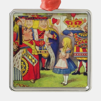 Alice und die Königin der Herzen Quadratisches Silberfarbenes Ornament