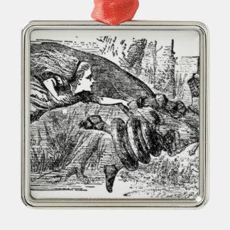 Alice und die Königin Quadratisches Silberfarbenes Ornament