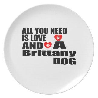 Alle benötigen Sie Liebe-Bretagne-Hundeentwürfe Teller